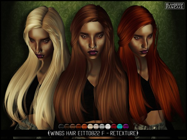 The Sims Resource: Wings Hair EITTO822 F   retextured by Blahberry Pancake for Sims 4