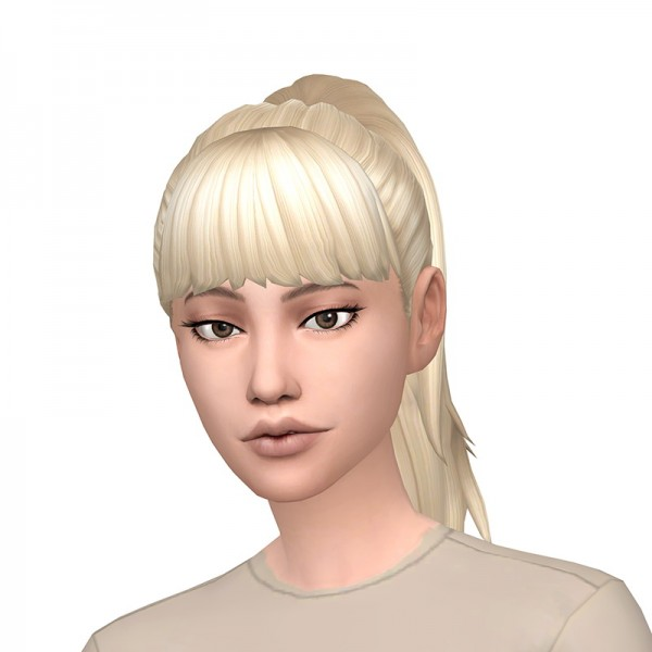 Deelitefulsimmer: Simple ponytail with and without bangs hair for Sims 4