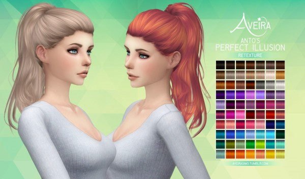 Aveira Sims 4: Anto's Perfect Illusion hair retextured for Sims 4