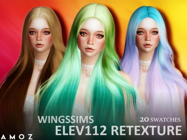 The Sims Resource: Wings Elev 112 by Amoz hair retextured for Sims 4