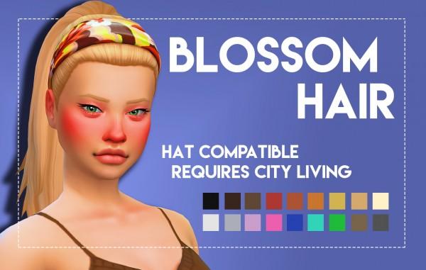 Simsworkshop: Blossom Hair   Onyx Variant for Sims 4