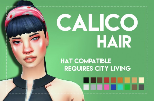 Simsworkshop: Calico Hair   Onyx Variant retextured by Weepingsimmer for Sims 4