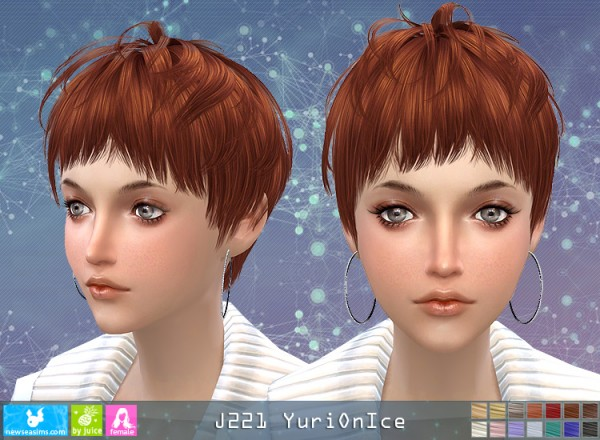 NewSea: Y221 Yuri On Ice hair for her for Sims 4
