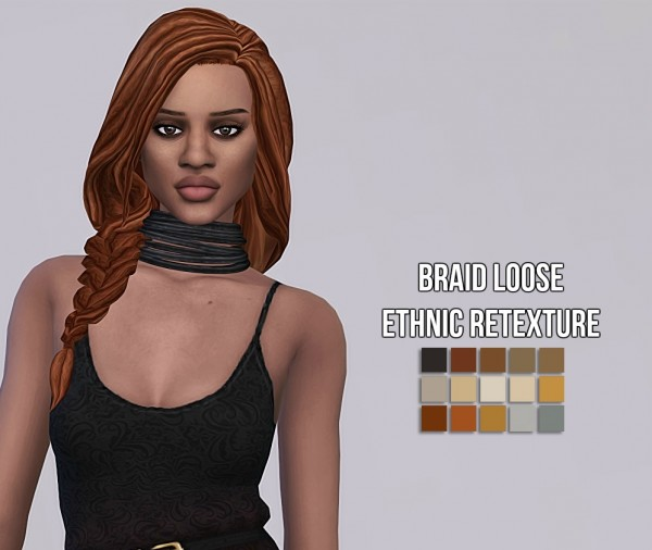 Simsworkshop: Braid Loose Ethnic hair retextured by maimouth for Sims 4