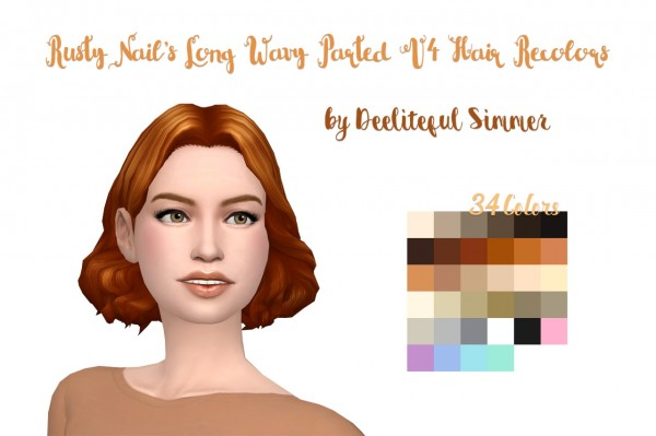 Deelitefulsimmer: Rusty Nail`s  Long Wavy Parted vers. 4 hair recolor for Sims 4