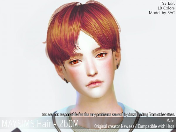 MAY Sims: May 260M hair retextured for Sims 4