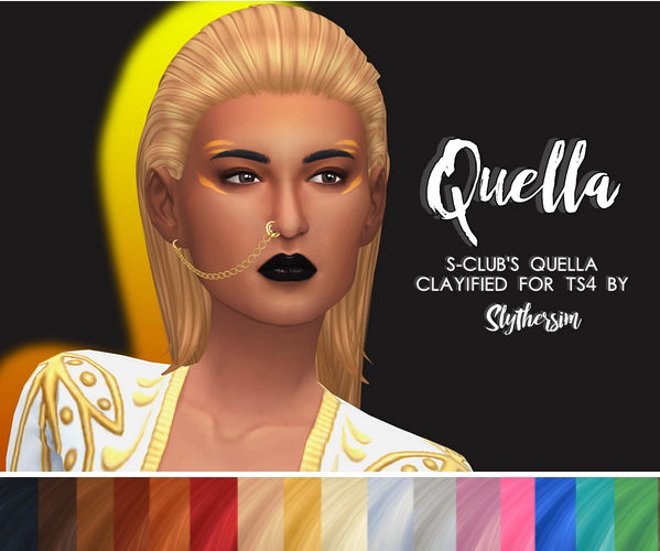Slythersim: Sclub's Quella Clayified hair for Sims 4