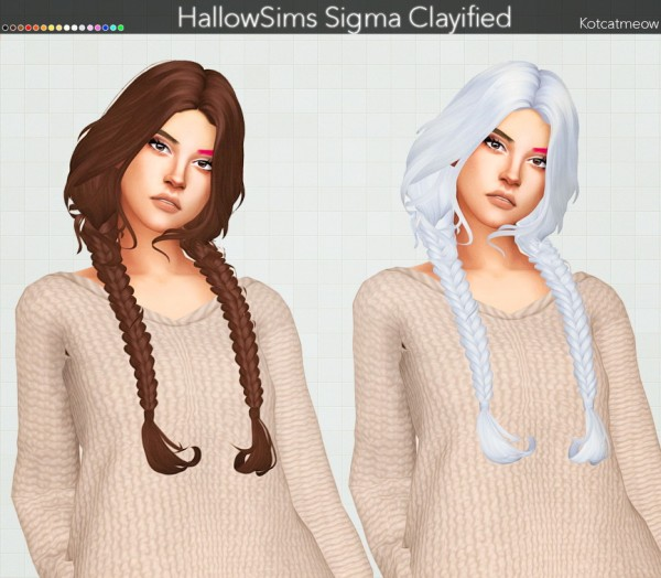 Kot Cat: HallowSims Sigma Hair Clayified for Sims 4