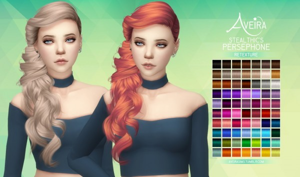 Aveira Sims 4: Stealthic's Persephone hair retextured for Sims 4