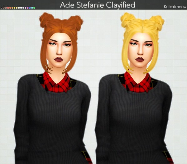 Kot Cat: Ade Stefanie Hair Clayified for Sims 4