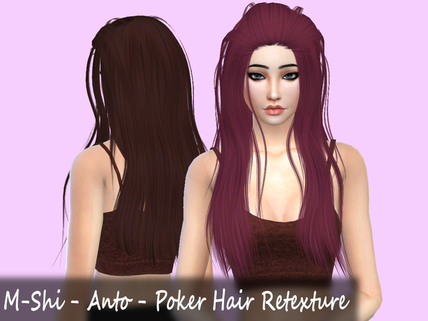 The Sims Resource: Anto`s Poker Hair Retextured by Mikerashi for Sims 4