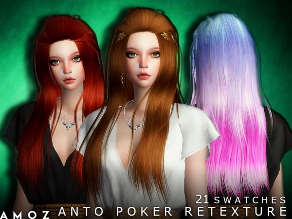 The Sims Resource: Anto`s Poker Hair Retextured by Amoz for Sims 4