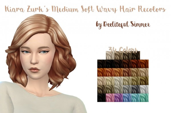 Deelitefulsimmer: Kiara`s Medium Soft Wavy hair recolored for Sims 4