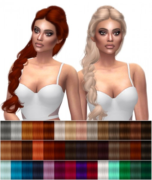 Kenzar Sims: WingsSims  ONT1201F hair retextured for Sims 4
