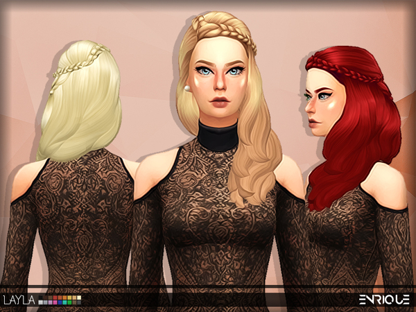 The Sims Resource: Enrique`s Layla Hair retextured by Jruvv for Sims 4