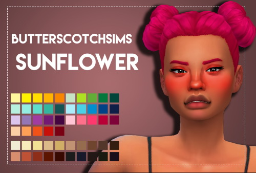 Weepingsimmer: Butterscotchsims Sunflower hair recolored for Sims 4