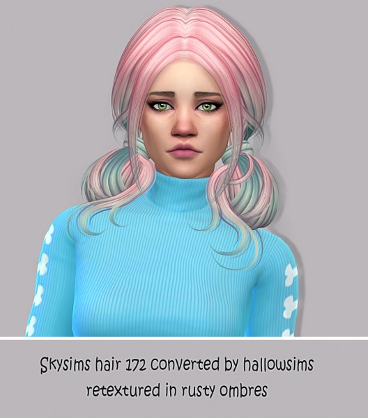 Simsworkshop: Skysims hair 172 retexture in rusty ombres by maimouth for Sims 4