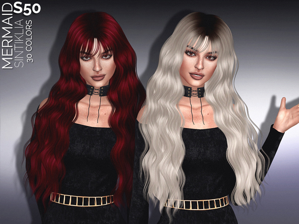 The Sims Resource: Hair`s 50 Mermaid by Sintiklia for Sims 4