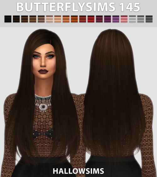 Hallow Sims: Butterflysims 145 hair retextured for Sims 4