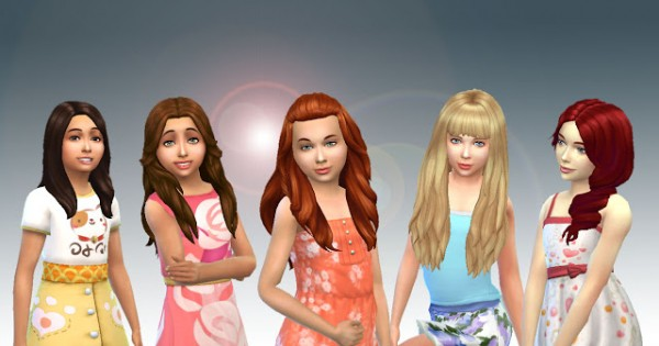 Mystufforigin: Girls Long Hair Pack 8 for Sims 4
