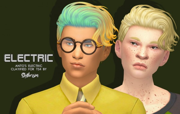 Slythersim: Anto's Electric Clayified hair for Sims 4