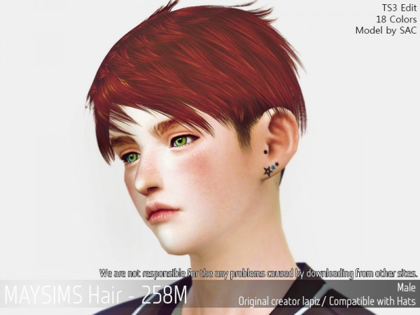 MAY Sims: MAY 258M hair retextured for Sims 4