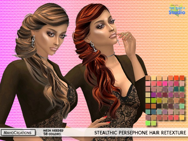 The Sims Resource: Stealthic`s Persephone Hair Retextured for Sims 4