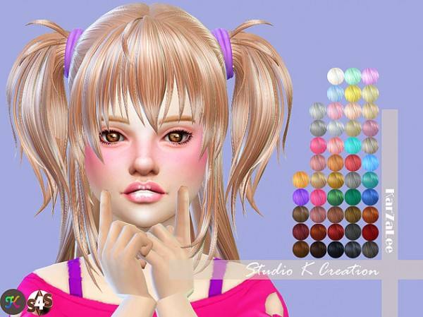 The Sims Resource: Animate hair73 Hina for kids for Sims 4