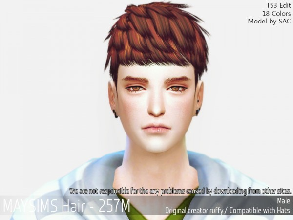 MAY Sims: MAY 257M hair retextured for Sims 4