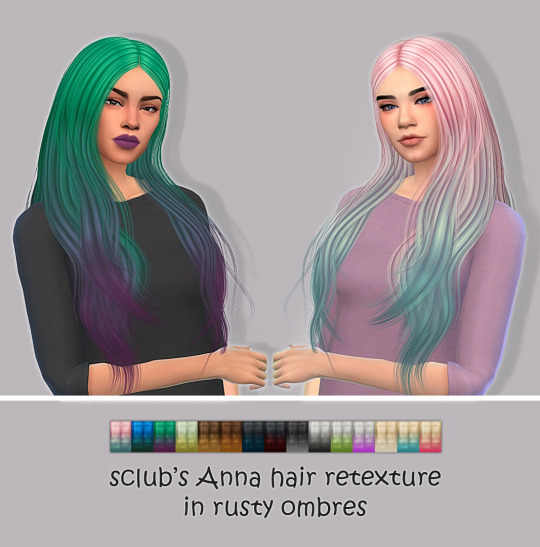 Simsworkshop: Anna hair retextured in rusty ombres by maimouth for Sims 4