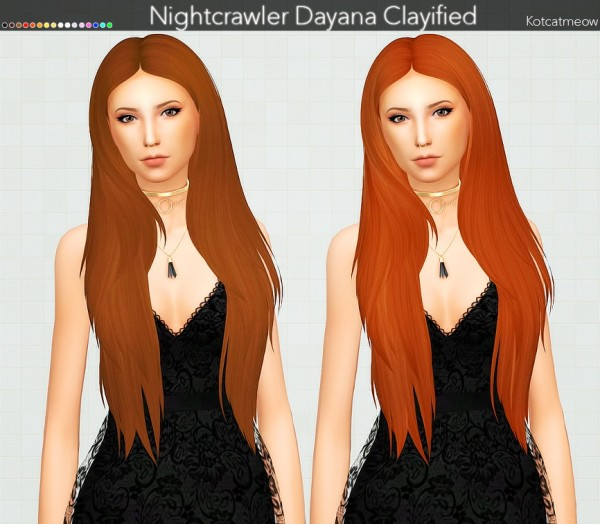 Kot Cat: Nightcrawler`s Dayana Hair Clayified for Sims 4