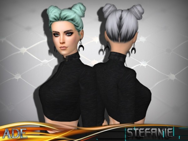 The Sims Resource: Stefanie without Bangs hair by Ade Darma for Sims 4