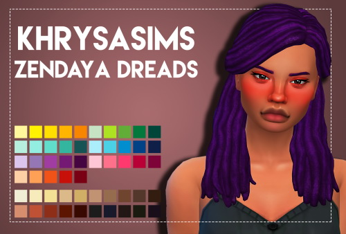 Weepingsimmer: Khrysasims' Zendaya hair recolored for Sims 4