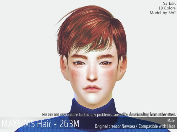 MAY Sims: May 263M hair retextured for Sims 4