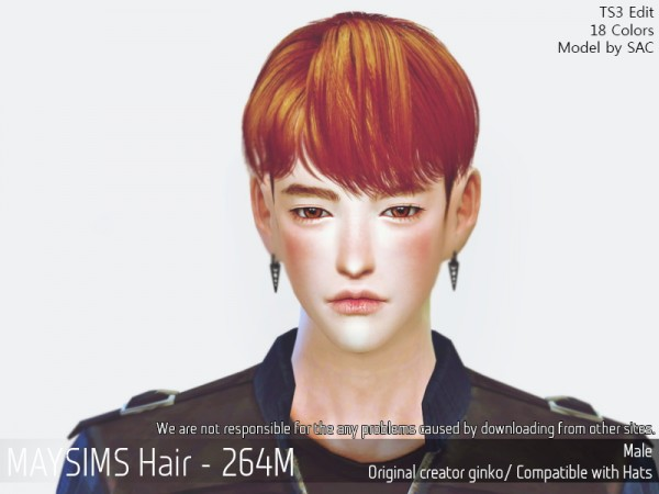 MAY Sims: May 264M hair retextured for Sims 4