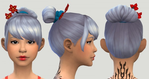 Pickypikachu: Tearoom Hair   Another Secret Santa Hair for Sims 4