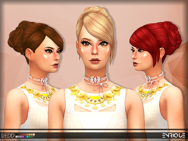 The Sims Resource: Enriques`s Wedd Hair retextured by jurvv for Sims 4