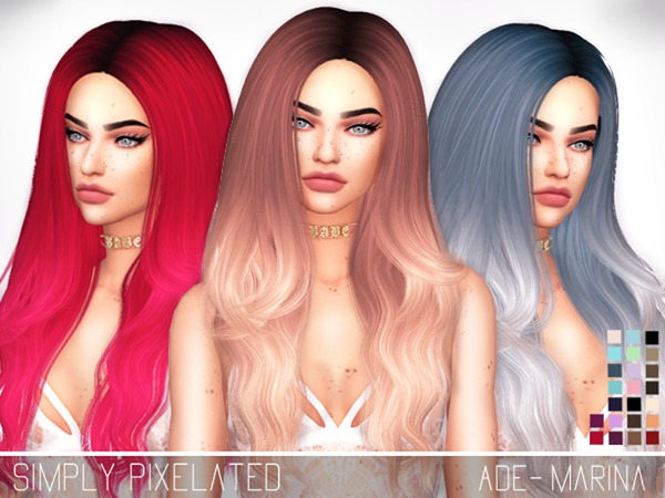 The Sims Resource: Ade`s Marina Hair Retextured by SimplyPixelated for Sims 4