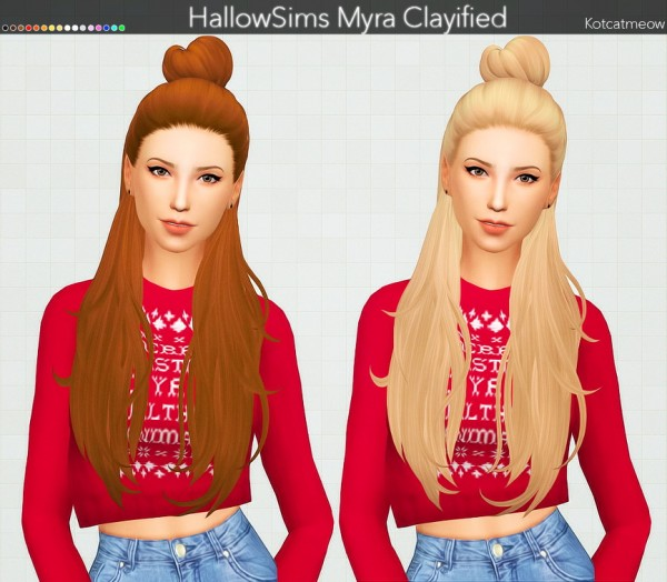 Kot Cat: Hallow`s Myra Hair Clayified for Sims 4