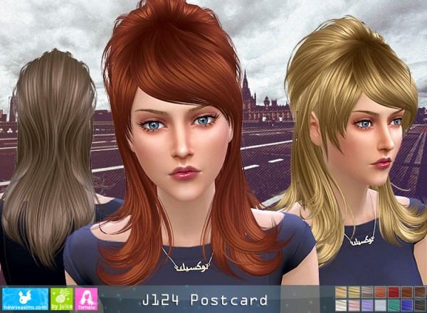 NewSea: J124 Postcard hair for Sims 4
