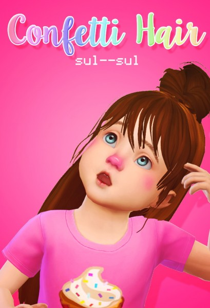 Sul Sul: Confetti Hair retextured for toddlers for Sims 4