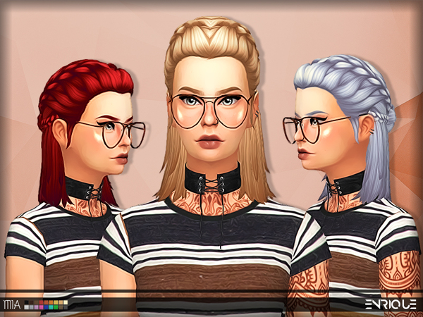 The Sims Resource: Enriques4`s Mia Hair retextured by Jruvv for Sims 4