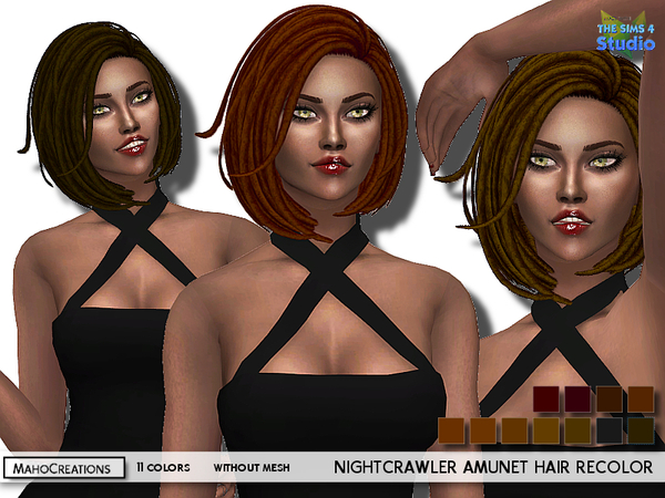 The Sims Resource: Nightcrawler`s Amunet Hair Recolor by MahoCreations for Sims 4