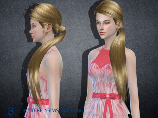 Butterflysims: Hair 195 by YOYO for Sims 4