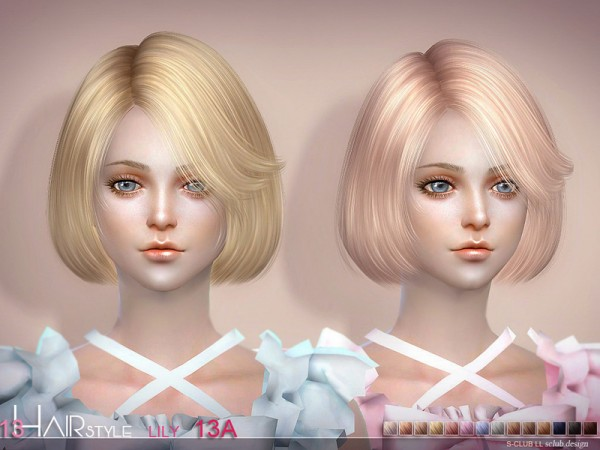 The Sims Resource: Lily N13A hair by S Club for Sims 4