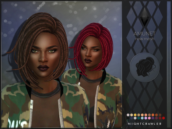 The Sims Resource: Amunet hair by Nightcrawler for Sims 4