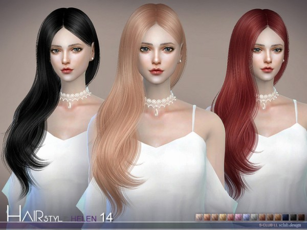 The Sims Resource: Helen n14 hair by S Club for Sims 4