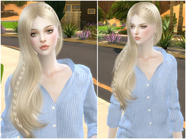 The Sims Resource: Helen braid hair by S club for Sims 4