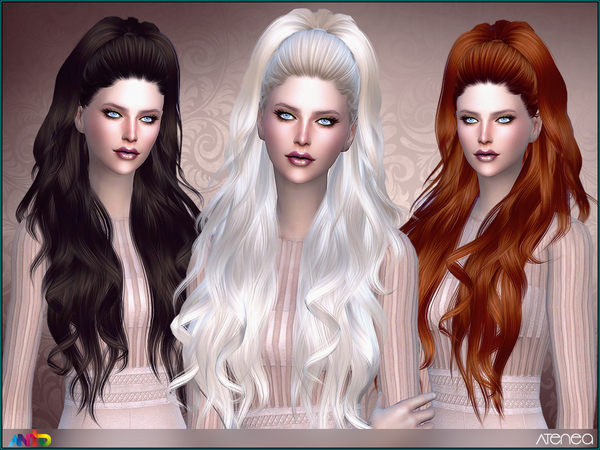The Sims Resource: Atenea hair for Sims 4