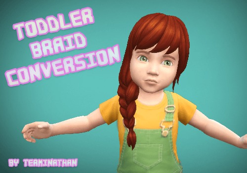 Mod The Sims: Child To Toddler Braid Conversion by Terminathan for Sims 4